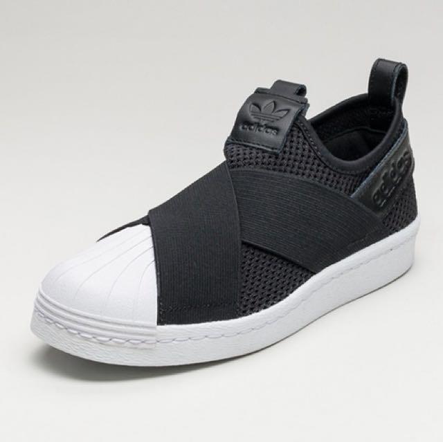 szczegóły uznane marki znana marka Authentic BN Adidas Superstar slip-on (Black), Women's ...