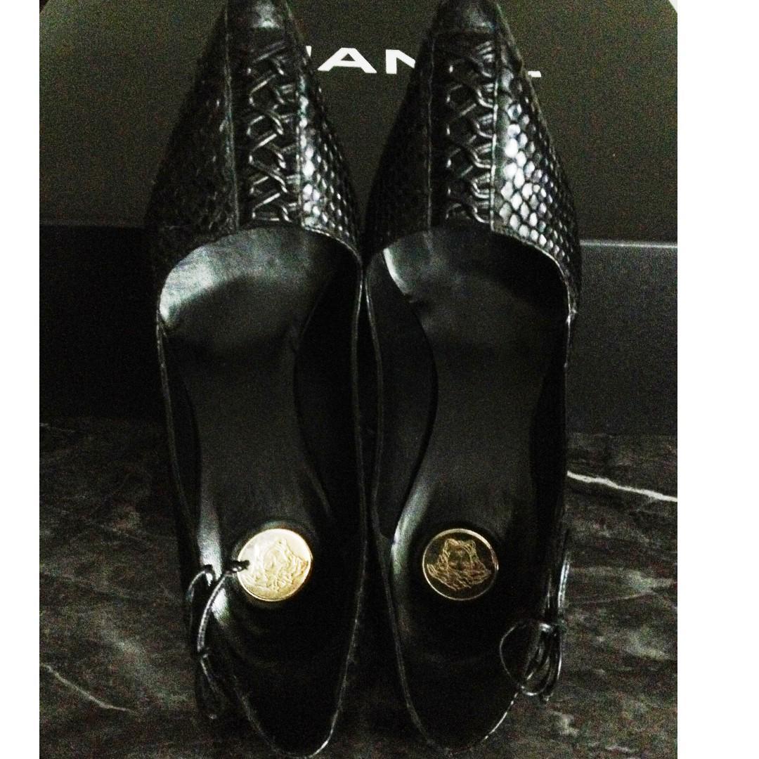 Authentic GIANNE VERSACE Black Python Heels