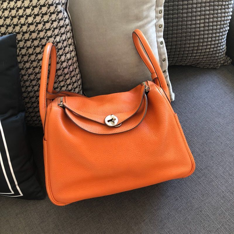800848387d10 Authentic Preloved Hermes Lindy 30 Orange Clemence Phw P stamp ...