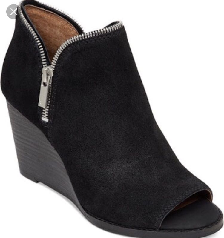 3d2f0805b1a Black Suede peep toe wedge booties