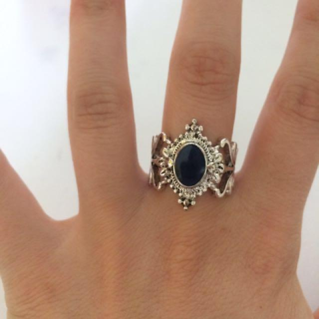Blue and silver ornate ring