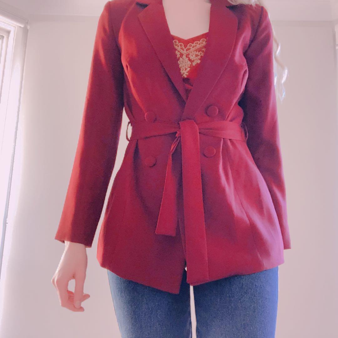 Burgundy tie waist longline blazer new