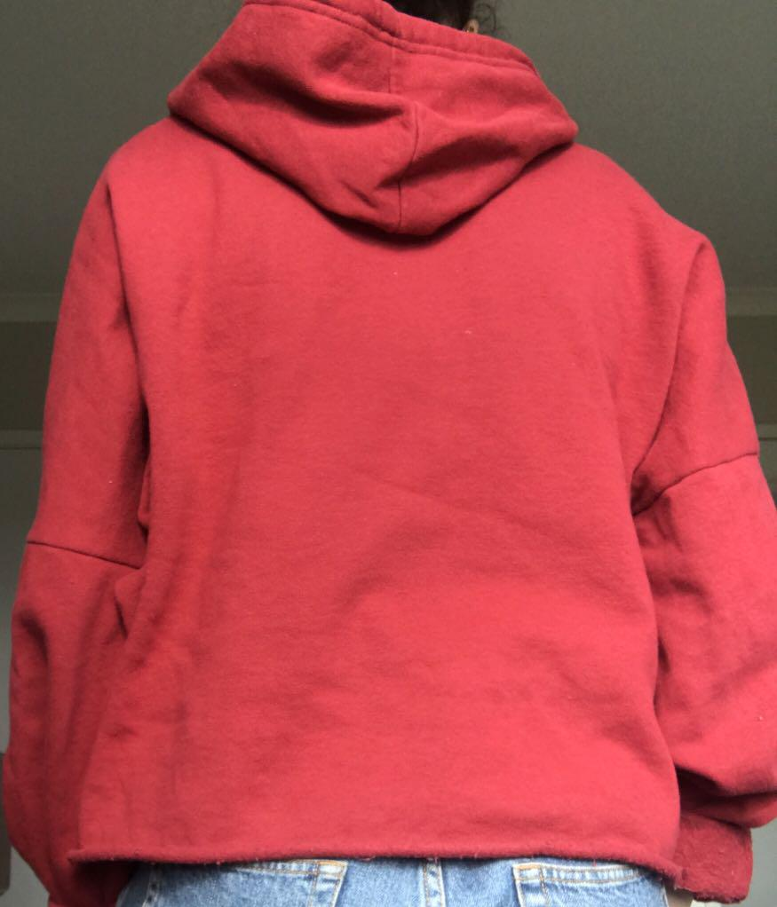 GLASSONS RED CROP HOODIE SIZE XL