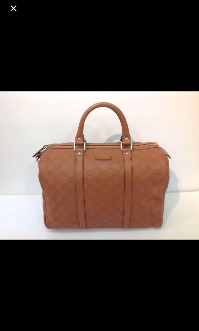 f72f35047e5e GUCCI GUCCISSIMA LEATHER BOSTON BAG, Luxury, Bags & Wallets, Handbags on  Carousell
