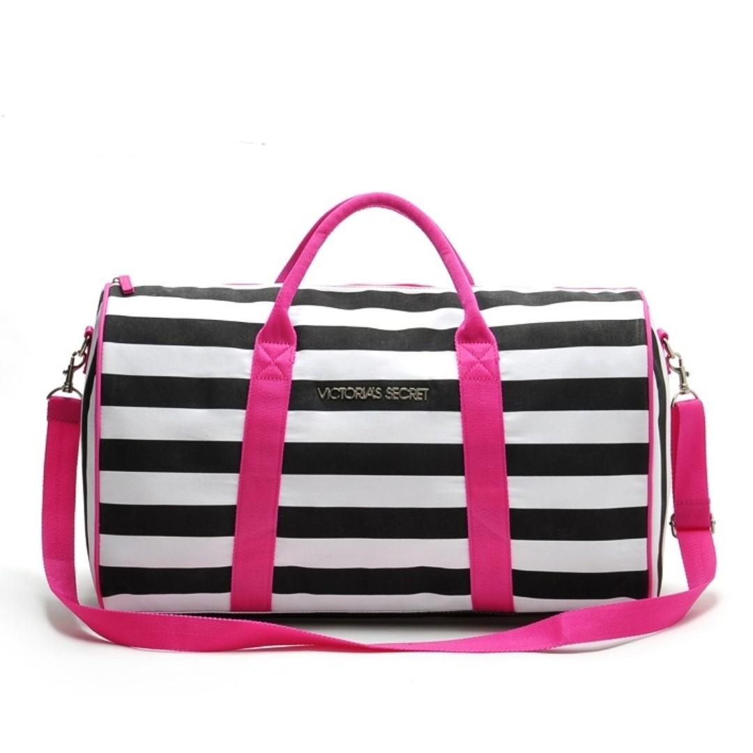 f0c64e78ae VS Victoria s Secret Black White Stripe Duffle Duffel Gym Travel Bag  PO111500185 + Free Post!