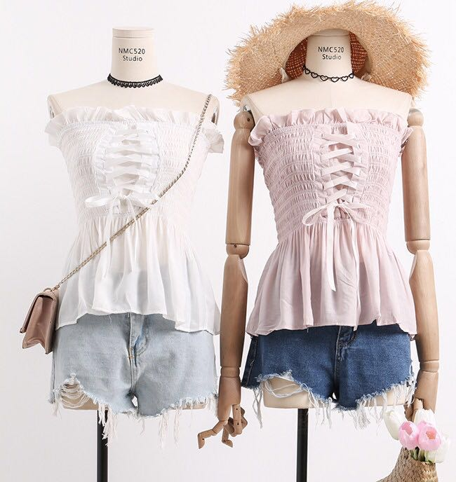 d94e3f6f49 Lace Up Smocked Babydoll Tube Top