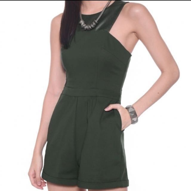9d7d96f575ad Love Bonito Romaine Faux Leather Romper in Olive Green