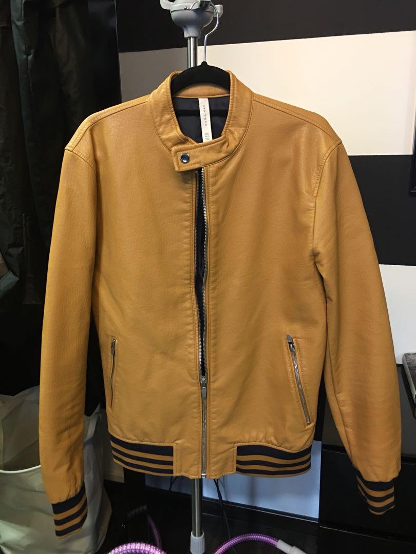 Men Zara Brown Leather Jacket Women S Fashion Clothes Outerwear