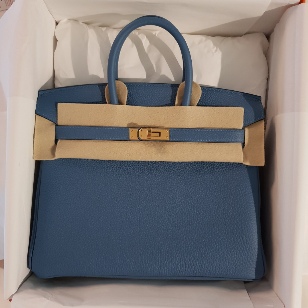 44edd8d4a01 New Hermes Blue Azur Togo Birkin 25 GHW stamp C