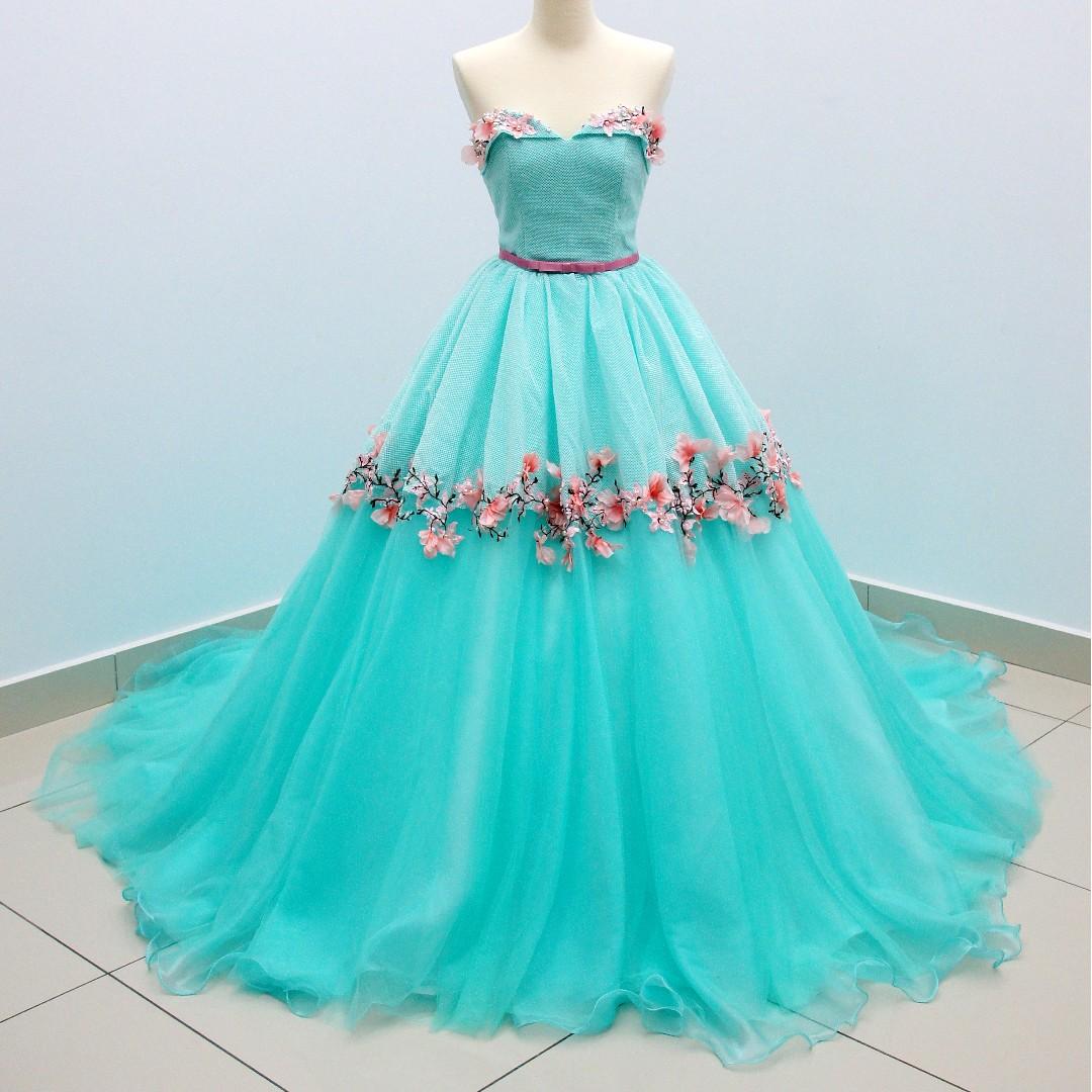 770bf3c6b73 NEW  Tiffany Blue Floral Wedding Gown