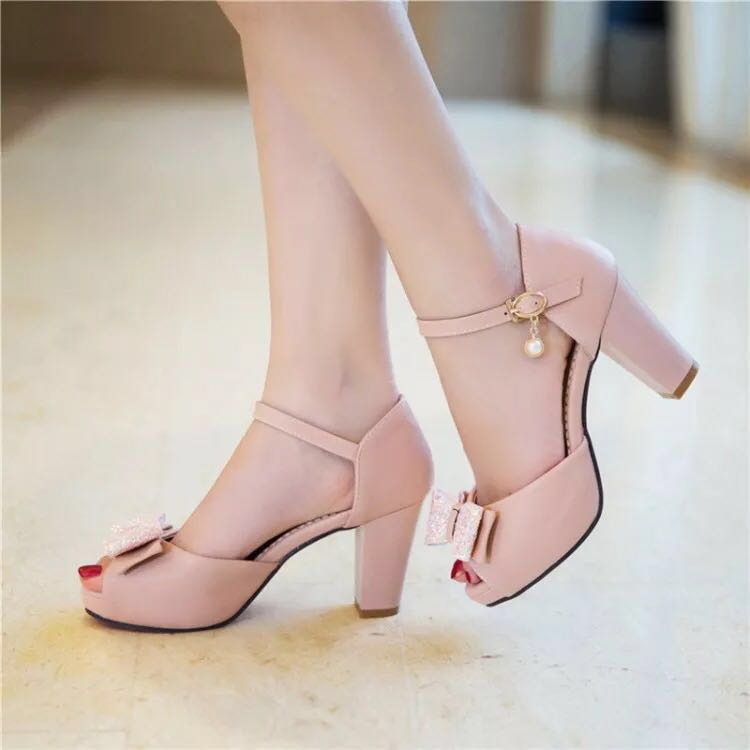 8464dca4c53 Pink Heels Glitter shiny ribbon women dangling pearl sandals ...