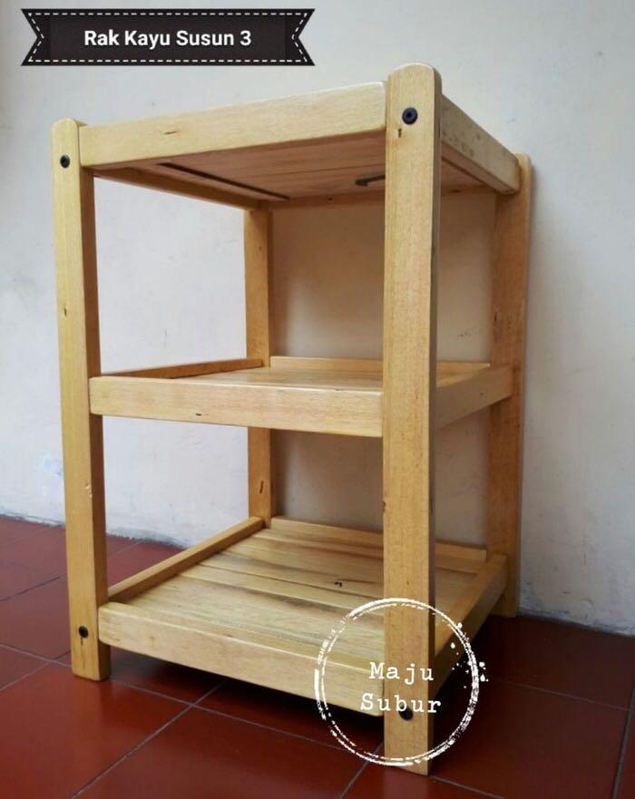 Rak Meja Kayu Susun 3 Dispenser Serbaguna Home Furniture On