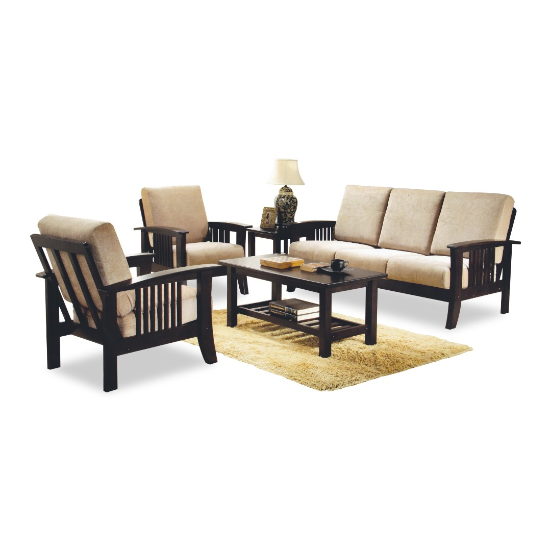 Solid Wood Sofa Set Furniture Sofas On Carousell