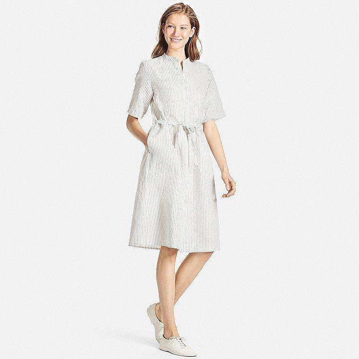 3006cec15d0 Uniqlo Linen Cotton short sleeve Shirt Dress