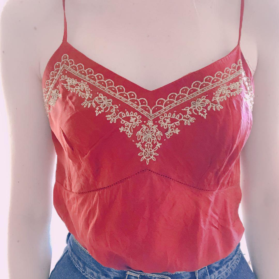 Vintage 100% silk embroidered cami