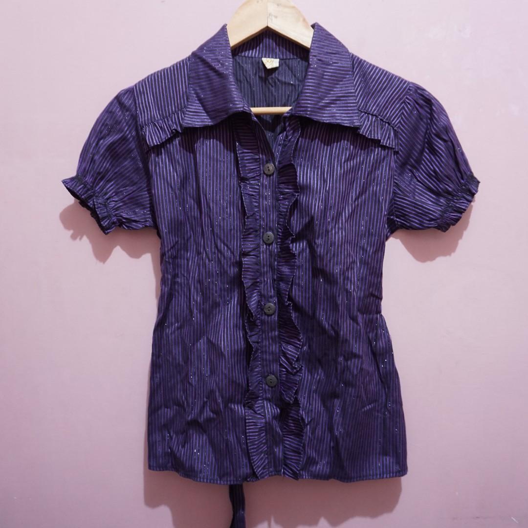 a74a1ef50ea35 Violet Stripes Office Blouse
