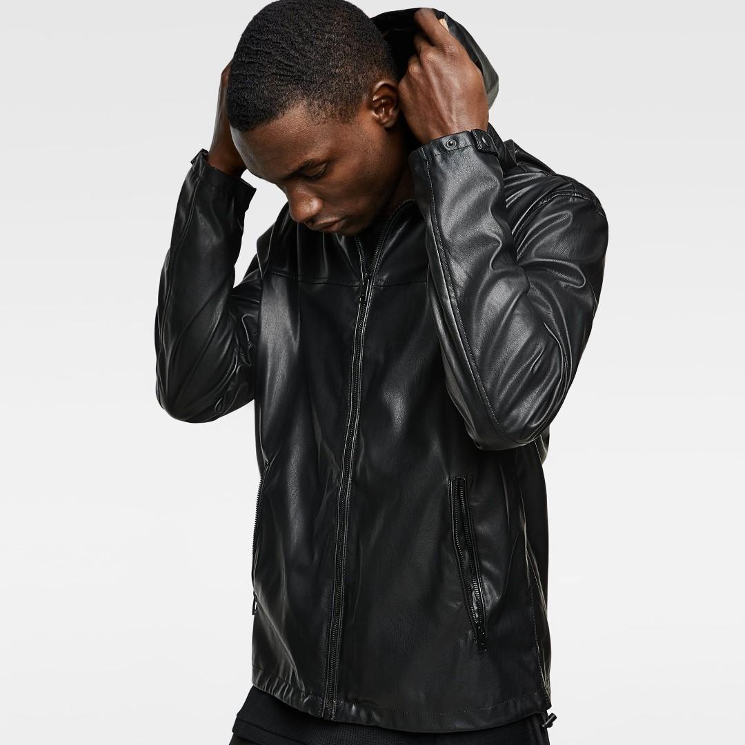 510ad587176d ZARA Hooded JACKET Faux LEATHER Hoodie BLACK Mens RainCoat