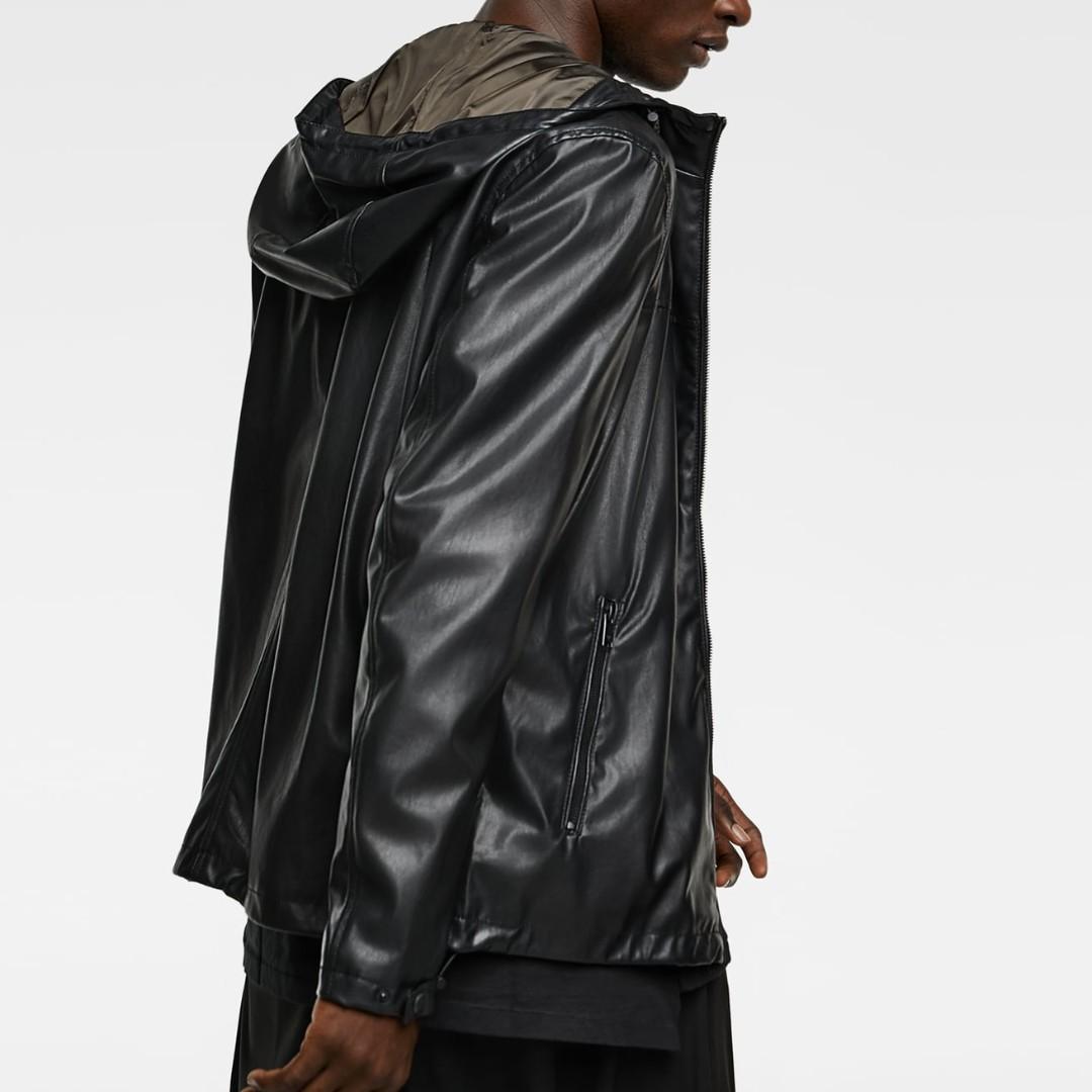 4b8f8bf94 ZARA Hooded JACKET Faux LEATHER Hoodie BLACK Mens RainCoat