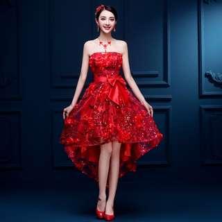 Pre order red sequin asymmetrical wedding bridal prom bridesmaid dinner dress  RBP0792