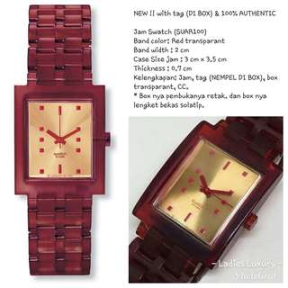 NEW !! with tag (DI BOX) & 100% AUTHENTIC - Swatch (SUAR100) Red transparant