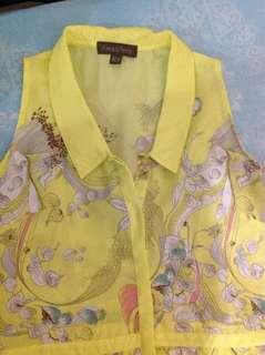 Authentic plains & prints yellow dress