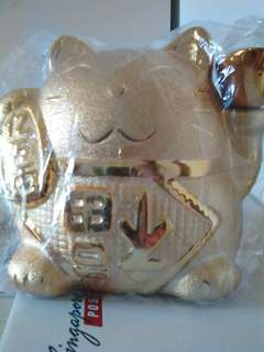 Fortune Cat Saving Coin Bank in gold color