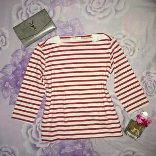 3/4 Sleeves Striped Top - White and Red