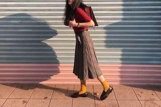 格紋 壓褶 長裙 (vintage.古著)