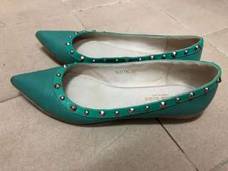Venilla suite藍綠色平底鞋37碼