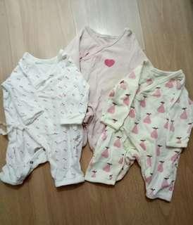 0-3mos tie front onesies overalls