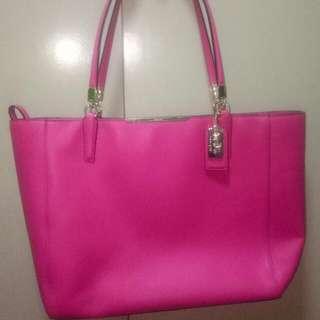 Original Coach Pink Tote Shoulder Bag With Zipper