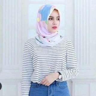 Baju Kaos Atasan Wanita Cewek Motif Salur Garis Lengan Panjang