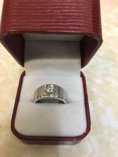 全新 750 18K白金 41.6份男裝鑽石戒指 重金 鑽石乾淨好火 約17圈 平到笑$6900