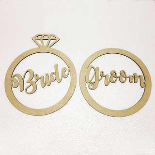 RENTAL: D150 BRIDE & GROOM RING SIGNAGE