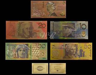 Australia Gold Banknote New AUD 5 10 20 50 100 Banknote Set 999.9Gold with C.O.A