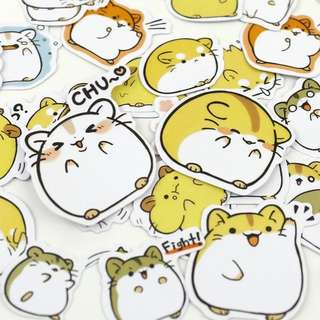 🚚 [In stock] 40pcs Cute hamster stickers pack