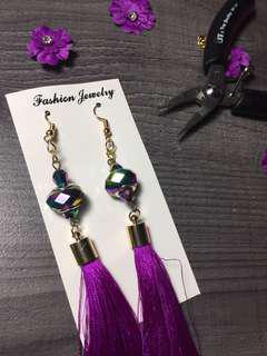 Purple rainbow beads tassel earrings