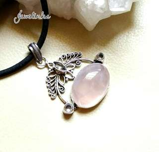 "Enchanting Rose Quartz/ White Topaz Pendant 2 1/2"". Set in 925 Silver. NEW."