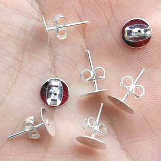 🚚 (out of stock) 18PCS 4mm Silver Plated Earring Post with Back