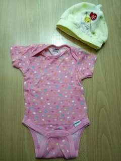 Newborn onesie with matching bib & free bonnet