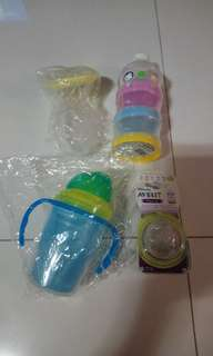 Brand new Philip nipple 9mth, manual breast pump and milk and water container