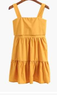 Yellow Back Ribbon Dress