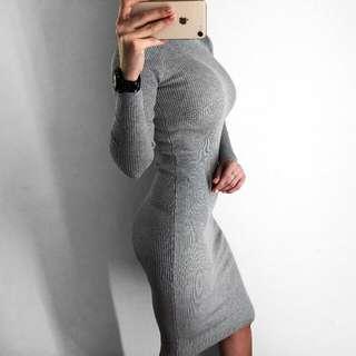 Grey knitted turtleneck dress size XS / S / M