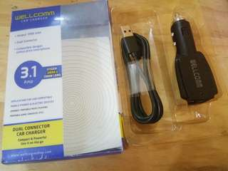Wellcomm Car Charger 3.1 Amp 2 USB Port 100% Original
