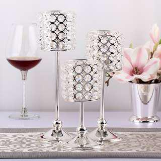 RENTAL: D158 CRYSTAL TABLE STAND DECOR (3 SIZES IN A SET)