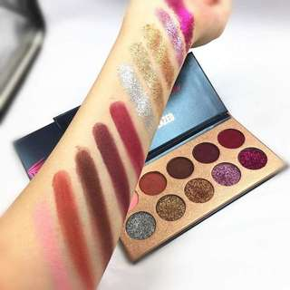 Readystock Beauty Glazed Glitz Glam Eyeshadow Palette Pigmented Matte Glitter Eye Shadow Makeup