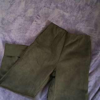 (含運)麂皮 長褲 寬褲 黑色