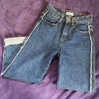(含運)反折 寬褲