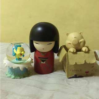 Cute Figurines Bundle (Kimmidoll Azumi, Mini Disney Snowglobe, Pig in a Box)