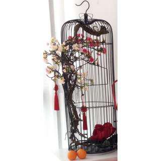 RENTAL: D163 LARGE BIRD CAGE W FLORAL ARRANGEMENTS